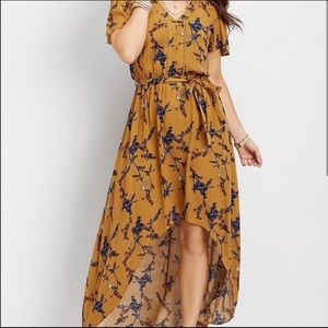 Fall Trend Mustard Flower Hi-Low Dress NWT Sz XXL